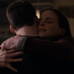 Tyler getting hugged by his mom