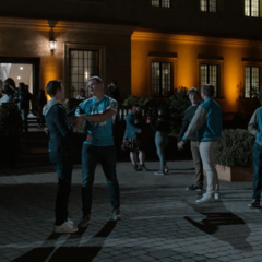 Students arriving at the party