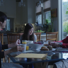 The Dempsey family having breakfast