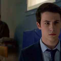 Clay Jensen looking at Jeff's memorial getting put up