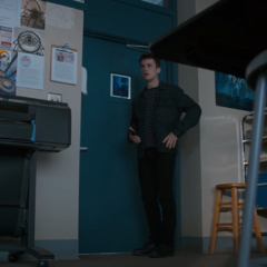 Clay hiding in a classroom