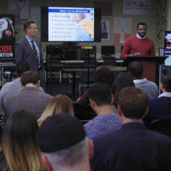 Principal Bolan and Mr. Porter informing parents about signs of depression