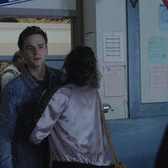 Jessica pushing Justin away from Clay
