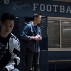 Zach, Monty and Charlie in the locker room