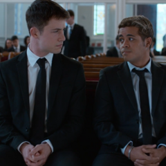 Clay and Tony talking before the funeral starts