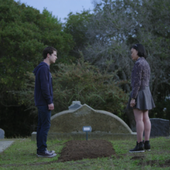 Clay and Courtney at Hannah's grave