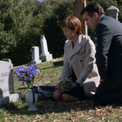 Olivia and Andy at Hannah's grave