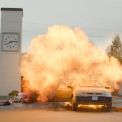 The principal's car exploding