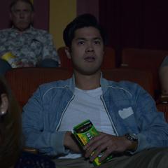 Zach watching a movie