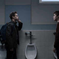 Alex confronting Justin in the bathroom
