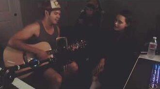 Ross Butler and Katherine Langford singing together