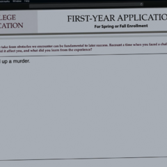 Clay confessing in his college application