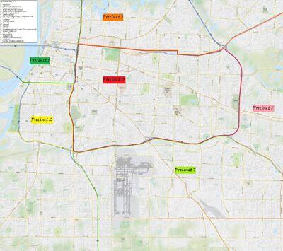 Midway - Street map - Precinct areas