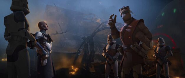 "Star Wars: The Clone Wars, ""The General"": Clone Captain Rex and Jedi General Pong Krell at the Battle of Umbara"