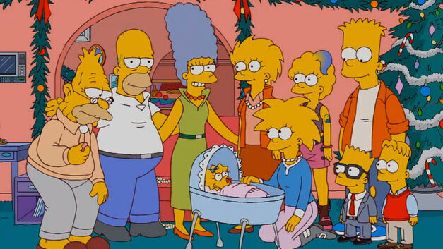 "The Simpsons family gathers together in ""Holidays of Future Passed."""