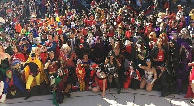 group of fans in cosplay