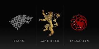Game of Thrones Stark Lannister and Targaryen house emblems