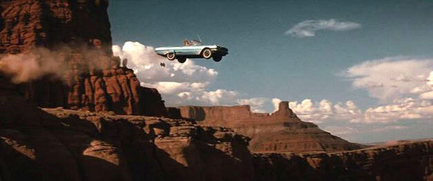 thelma and louise car in mid air over the canyon