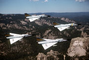 F-106s 5th FIS over Mt Rushmore 1981
