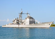 US Navy 100628-N-6854D-001 The Ticonderoga-class guided missile cruiser USS Chancellorsville (CG 62) arrives at Joint Base Pearl Harbor-Hickam to participate Rim of the Pacific (RIMPAC) 2010 exercises