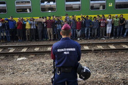 Syrian refugees strike at the platform of Budapest Keleti railway station. Refugee crisis. Budapest, Hungary, Central Europe, 4 September 2015. (3)