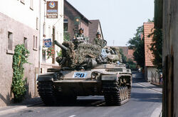 US Army M60 tank in German village