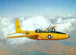 Temco TT-1 Pinto in flight (colour) c1957