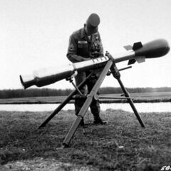 Photograph of a U.S. developed M-388 Davy Crockett nuclear weapon mounted to a recoilless rifle on a tripod, shown here (1961) at the Aberdeen Proving Ground in Maryland in March 1961. It used the smallest nuclear warhead ever developed by the United States.