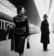 Lisa Fonssagrives at Paddington Station, London, 1951