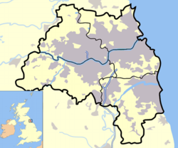 Tyne and Wear outline map with UK