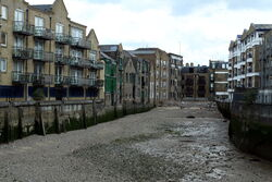 Dunbar Wharf and Wundee Wharf in the London Borough of Tower Hamlets from the Thames Path, Spring 2013 (1)