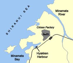 Minamata map illustrating Chisso factory effluent routes2