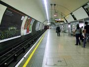 Euston tube station Northern line Bank branch southbound look south