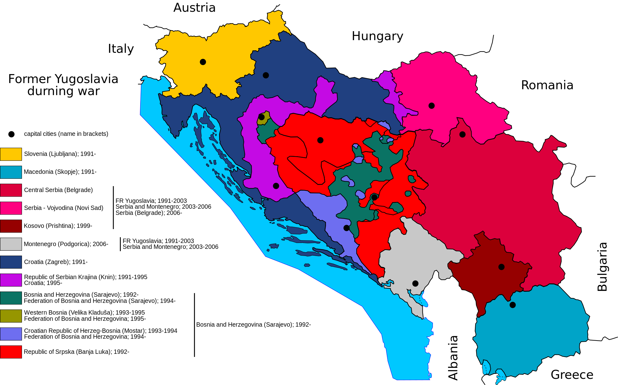 The 1991 2001 Yugoslav Civil War Map Game