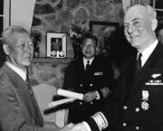 Syngman Rhee and Rear Admiral Ralph A. Ofstie, USN,