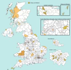 50 typical UK Election seats map