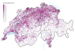 Bevölkerungsdichte der Schweiz 2016
