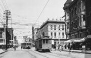 2 streetcars at Fifth & Market downtown