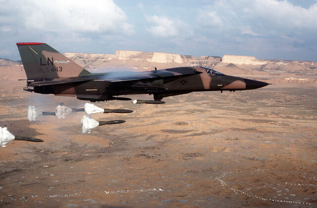 File:F-111F dropping high-drag bombs.jpg