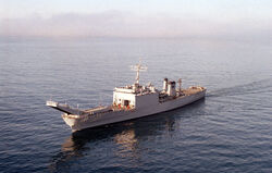 USS Bristol County (LST-1198) port bow view
