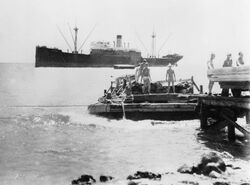 SS North Haven unloading at Wilkes Island, Wake Atoll