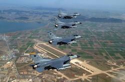 Kunsan air base with F-16s