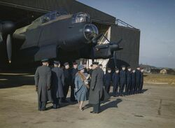 Queen Elizabeth at RAF Warboys Feb 1944 IWM TR 1554