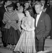 Natalie Wood and Tab Hunter arriving at the 28th Academy Awards 1956 cropped