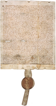 Magna Carta (1297 version with seal, owned by David M Rubenstein)