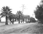 Old PE car at San Gabriel Mission circa 1905