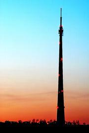 Emley Moor mast at sunset - geograph.org.uk - 497294