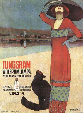 File:Faragó, Géza - Poster for Tungsram Light Bulbs (ca 1910).jpg