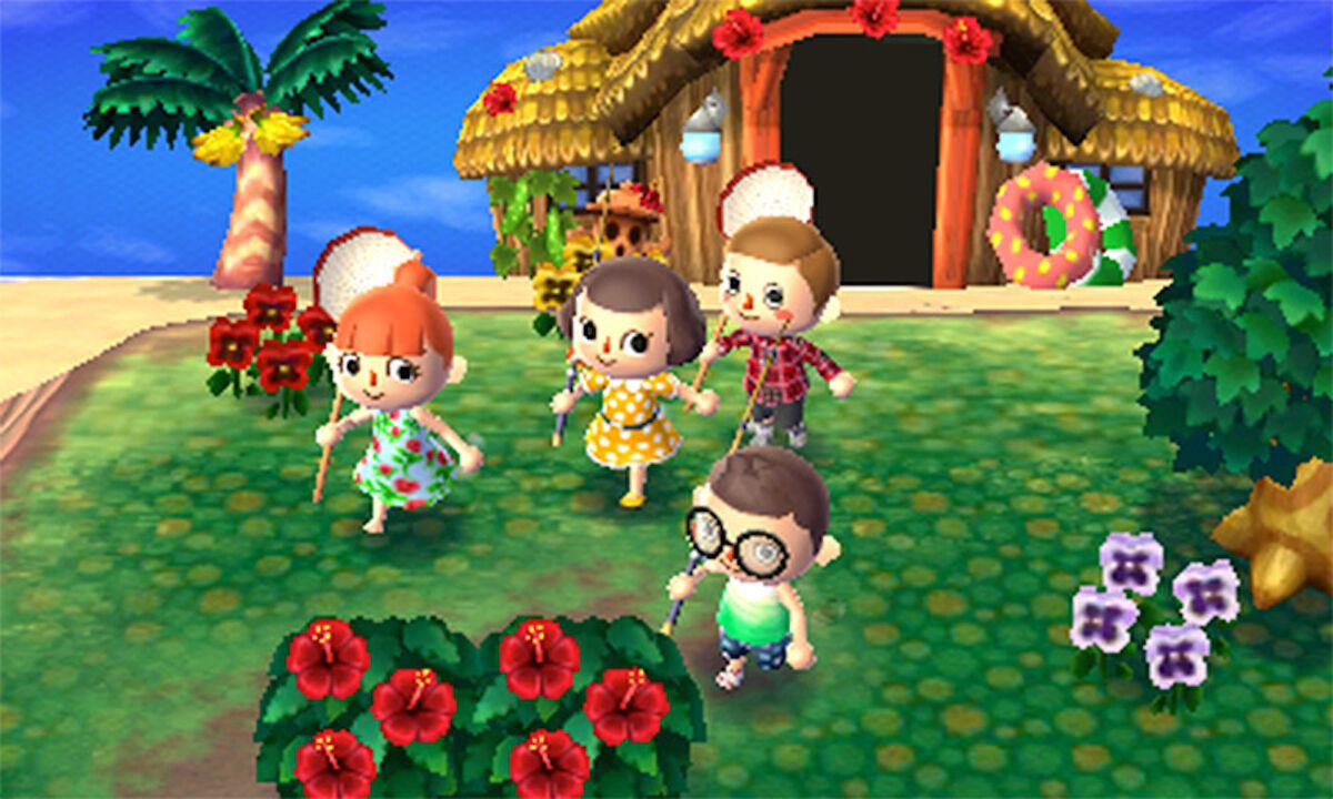 Four Animal Crossing friends exploring Tortimer Island