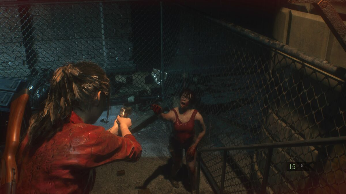 Resident Evil 2 Claire and zombie
